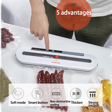 лучшая цена Electric Vacuum Sealer Packaging Machine Household for Food Saver 110V 220V Vacuum Sealer Bag with 10PCS Food Storage Bags
