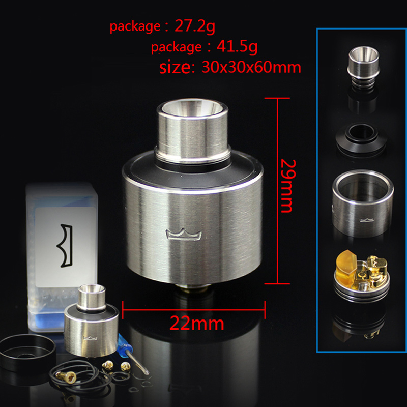 2019 SXK Monarch V2 RDA Diameter 22mm 316 Stainless Steel Taste Type Drip Tank With BF Pin Fit Atto Mech Mod