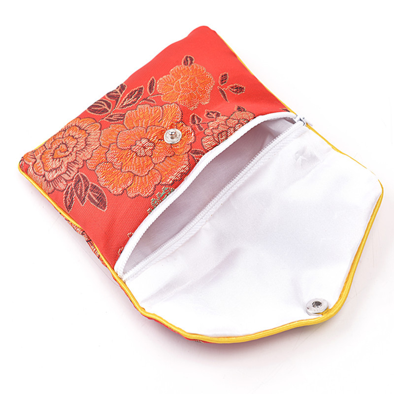 Favorite Floral Cloth Cute Coin Purse Zip Bags Small Chinese Silk Gift Bag  YL47
