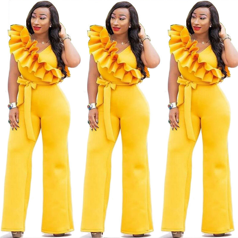 2019 Elegant Ruffle Jumpsuit Women Rompers Sexy V Neck High Waist Wide Leg Long Pants Maxi Romper Evening Formal Party Jumpsuits in Jumpsuits from Women 39 s Clothing