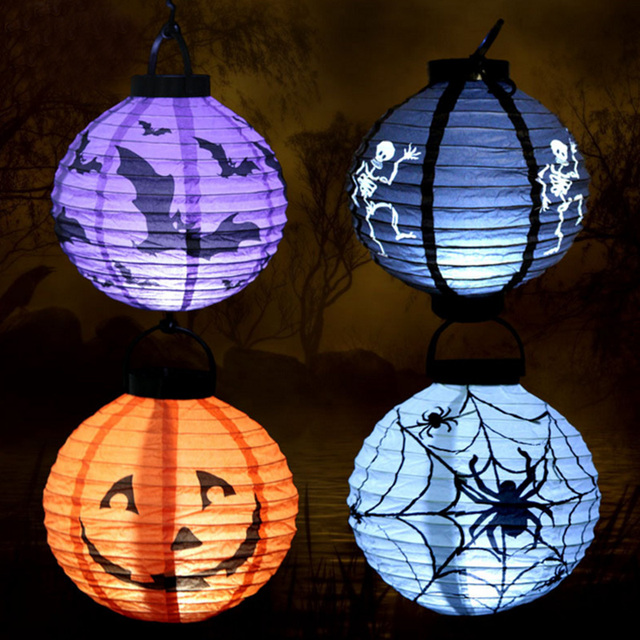 1Pc Halloween Decoration LED Paper Lanterns Pumpkin Lights Portable Lanterns  Props Bats Skull Site Layout Outdoor