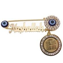 Koran vier Qul suras Mashallah Rvs crystal broche moslim islam Baby Pin