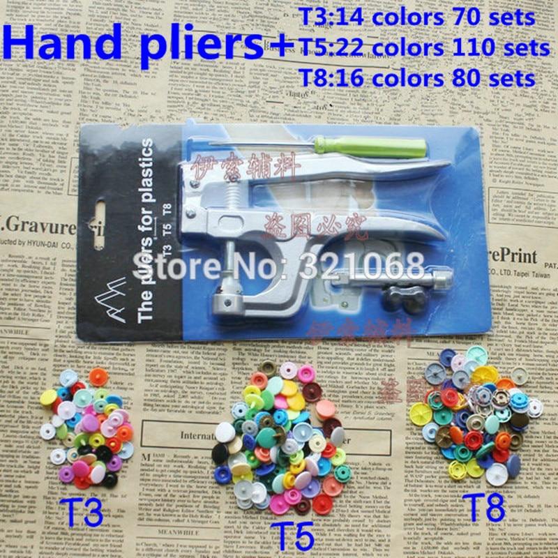 2014 KAM T3 / T5 / T8 fivela snap plástico 52 cor misturada + ferramentas de instalação de resina snap prendedor na mão braçadeira de pressão atacado