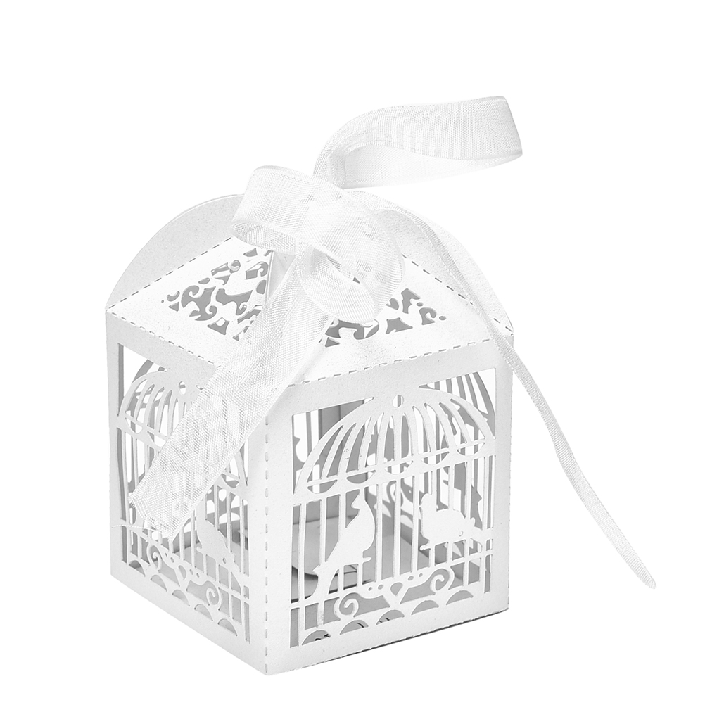 10pcs White Hollow Cut Bird Candy Boxes Sweets Box Baby Shower Gifts ...