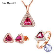 Shipei Sterling Silver Ruby Triangle Jewelry Set Rose Gold Stud Earrings Pendant Necklace Ring For Women Fine Jewelry