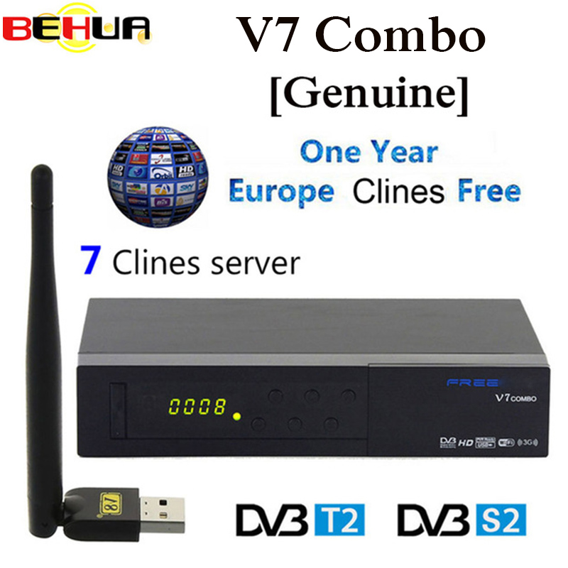 Original V7 Combo Receptor Satellite Receiver DVB S2 / T2 Biss Key PowerVu Biss Key 1080p HD TV Receiver Wifi C-line 7 optional цена