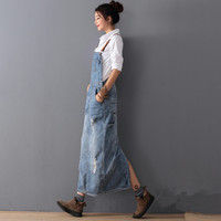 High Quality Women Spring Autumn Vintage Denim Braces Dress Loose Plus Size Light blue dress Long Dress Suspender