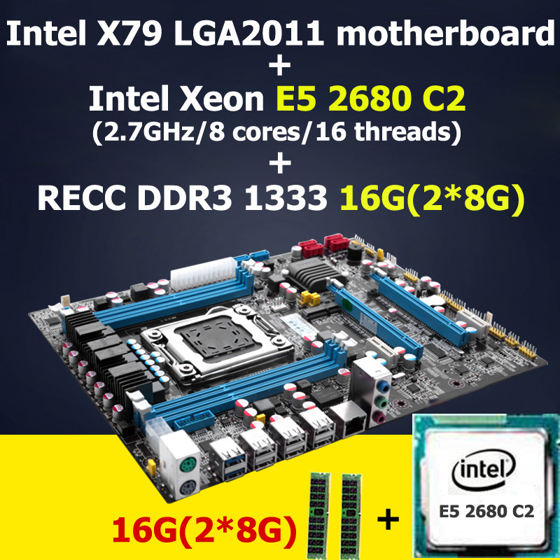 HUANAN X79 motherboard CPU RAM combos X79 LGA2011 CPU Xeon E5 2680 C2 memory (2*8)16G DDR3 REG ECC 4 channels 2 years warranty original e5 2670 cpu 20m cache 2 60 ghz 8 00 gt s intelqpi ga 2011 srokx c2 suitable x79 motherboard