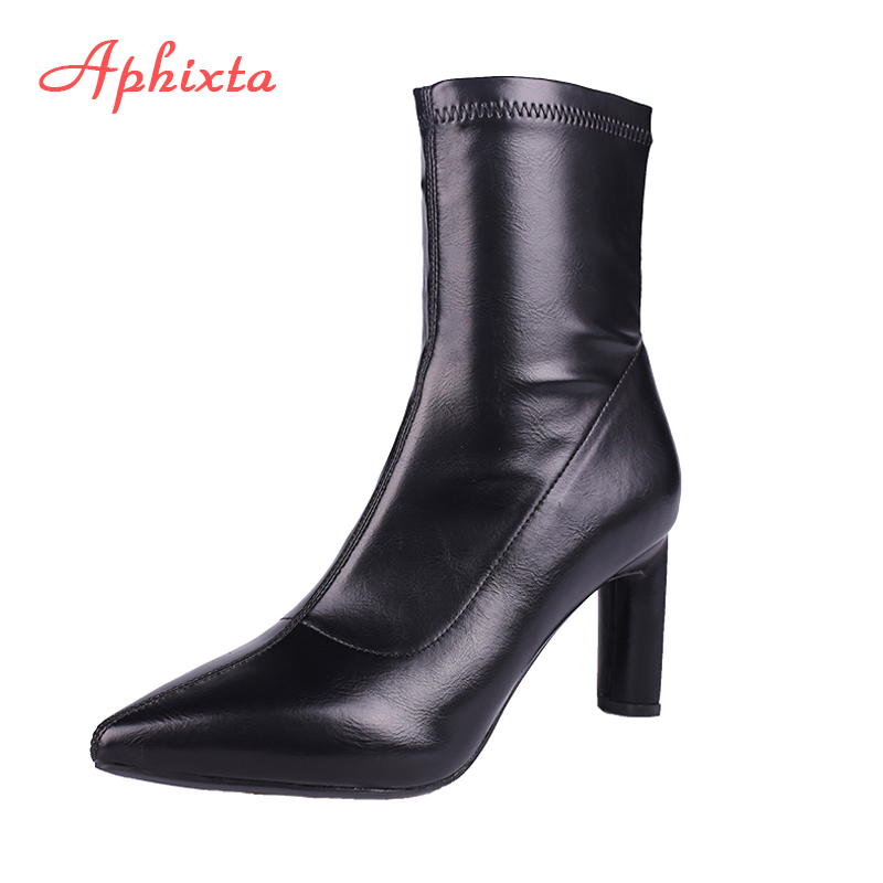 Aphixta Shoes Women Socks Boots Round Heels Pointed Toe Shoes High Heels Black Fashion Ladies Sock Boots Sexy Booties Female black round toe side zippers heavy bottomed increased inner 12 cm slope heels naked boots discount women fashion wedges booties