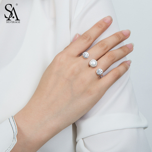 Image 3 - SA SILVERAGE 925 Sterling Silver Wedding Rings Sets for Women Fine Jewelry Round Freshwater Pearls Double Fingers Rings Women