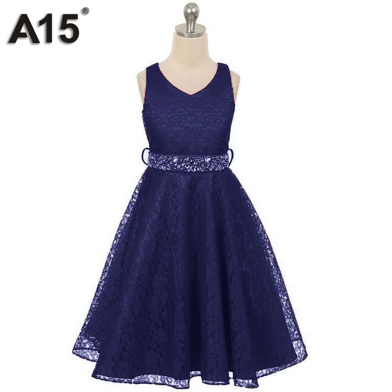 A15 Top Quality Flower Girls Dresses for Party and Wedding Black White Summer 2018 Age 4 5 6 8 10 12 Years Children Lace Dresses