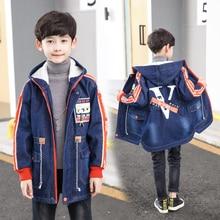 цены на Winter fall Boys denim coat Children Clothes Long Sleeve Kids simier Coats For boys Hooded Jackets For boys Clothes 7 8 12 Years  в интернет-магазинах