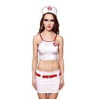 Dorosłych Kobiet Halloween Sexy Nurse Kostium Panie Pasek Tank Tops Spódnica Fantazyjne Club Party Porno Erotyczne Gry Strój Dla Dziewczynek