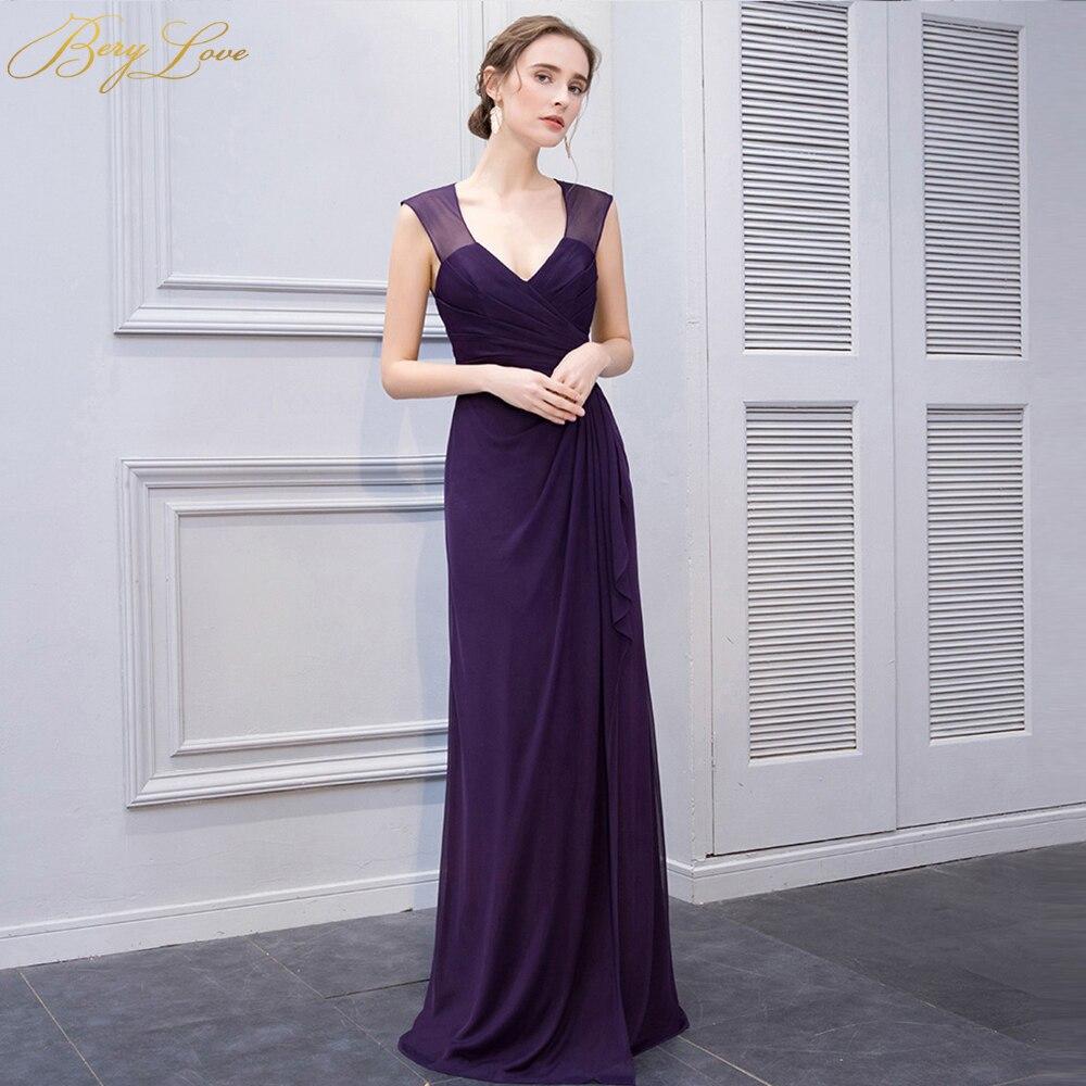 Discount Designer Evening Dresses: Cheap Long Grape Purple Evening Dresses 2018 V Neck Open