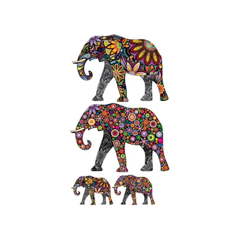 Newest Elephant Flower Pattern Wall Sticker Removable Decal Home Decor Wallpaper Ethnic Unique Style Pvc Living
