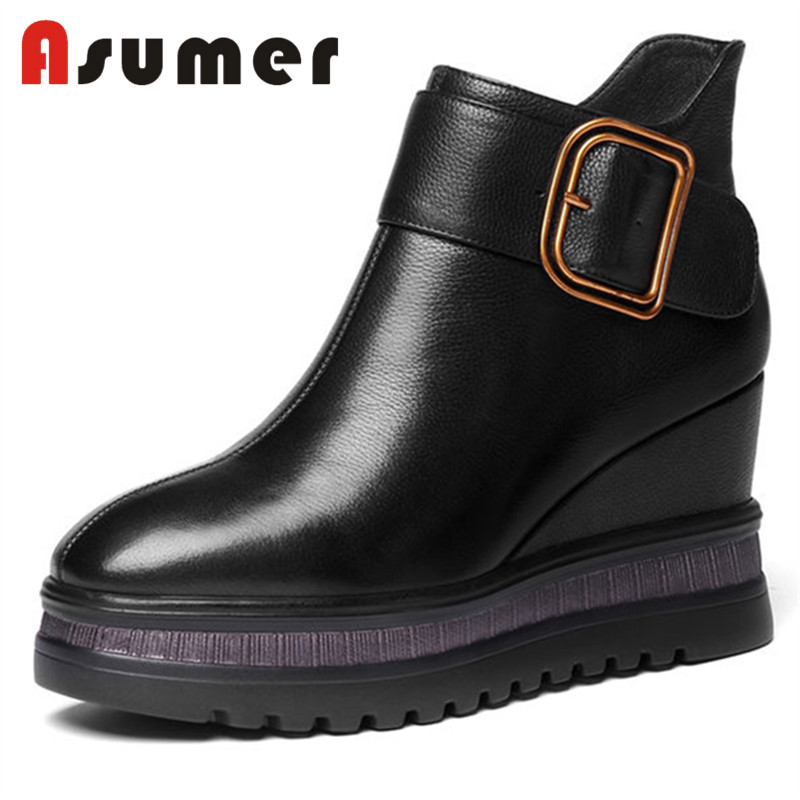 ASUMER NEW 2018 hot sale fashion adult ankle boots for women solid simple autumn boots wedges high quality genuine leather bootsASUMER NEW 2018 hot sale fashion adult ankle boots for women solid simple autumn boots wedges high quality genuine leather boots