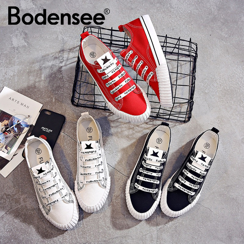 BODENSEE Women Canvas Shoes 2019 Autumn Casual Canvas Shoes Ladies Trainers Lace-Up Sneakers