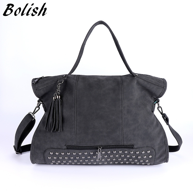 Bolish Rivet Nubuck Leather women bag Fashion Tassel Messenger Bag Vintage Shoul