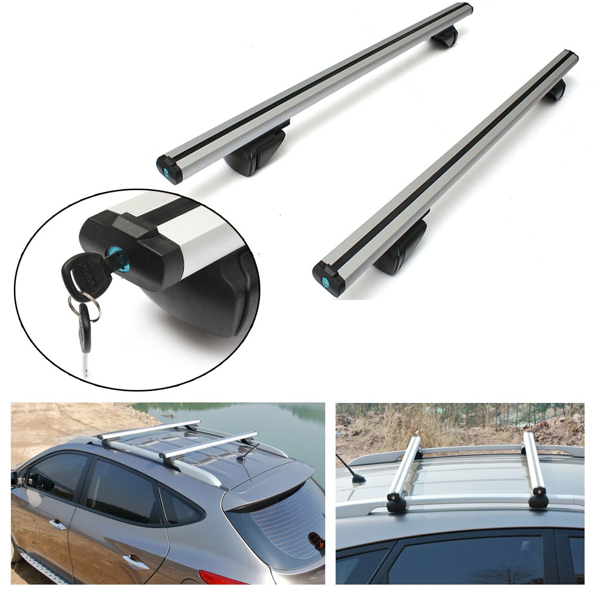 120cm Car Roof Rack Cross Bar Lock Anti-theft Rail Lockable  Adjustable Aluminum Cargo Luggage Carrier Max Load 220Lb teaegg top roof rack side rails luggage carrier for hyundai tucson ix35 2010 2014
