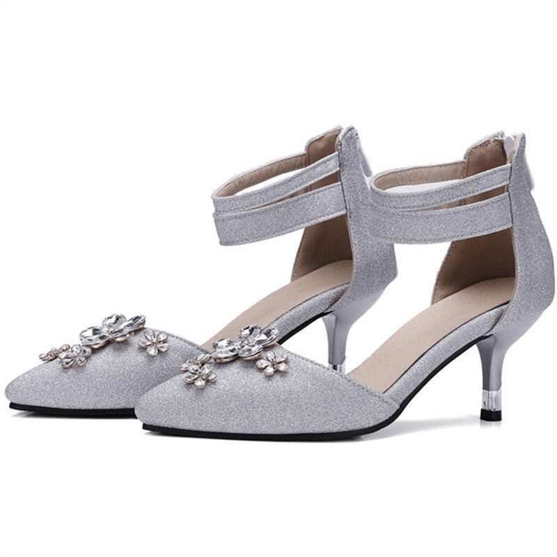 Pointu Noir Partie Saisons Mode Chaussures Taille Talons 34 Simples Bout 47 Profonde Haute argent Quatre Peu Doux Morazora Strass Pompes Femmes gSBwEUH