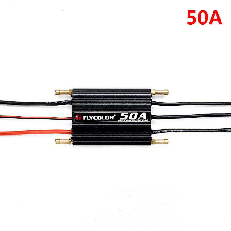 Flycolor 50A 70A 90A 120A 150A Boat ESC 2 6s Water proof for RC Boats with Water Cooling System