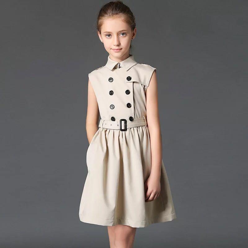 2019 nouveau été rose double boutonnage polocol filles robe fête formelle haute qualité Boutique enfants robes pour filles 6 8 10 12Y - 6