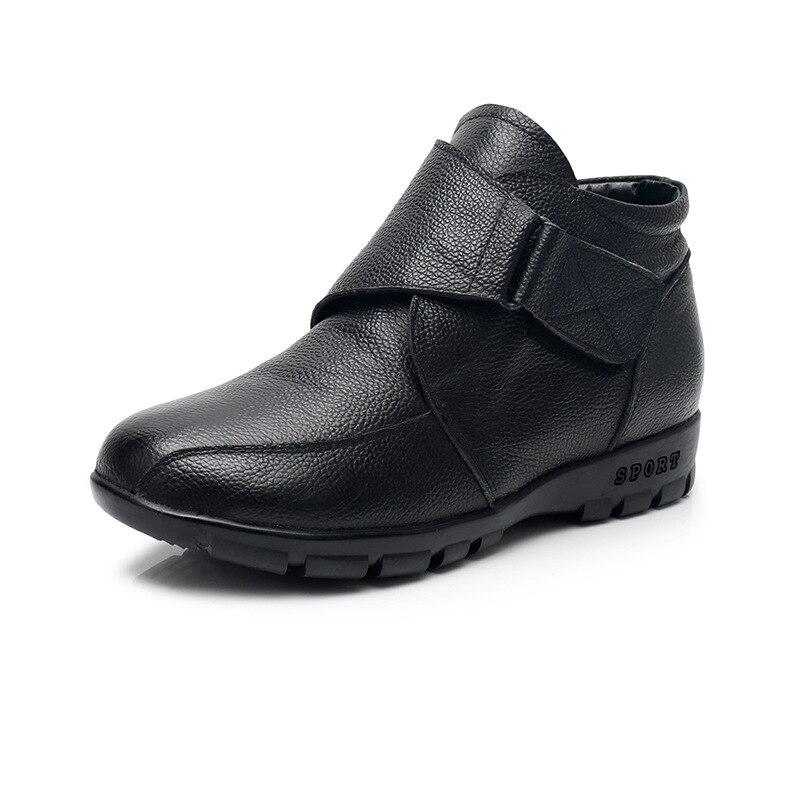 Non En Casual 2018 Taille marron slip La Vache Cuir De Hiver Femmes Plat Neige Plus 43 Mode Chaussures Nouveau Bottes Noir Bottines Peau XXq67