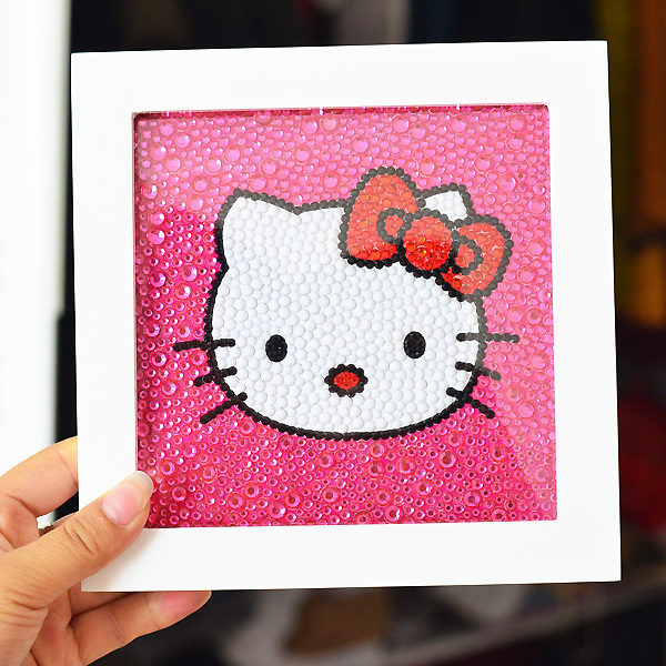 ff50e4ccd DIY Size 15*15CM Kawaii Hello Kitty Children Hello Kitty Play Cross Stitch  Set For Embroidery Cross Stitch Diamond With Frame-in Package from Home &  Garden ...