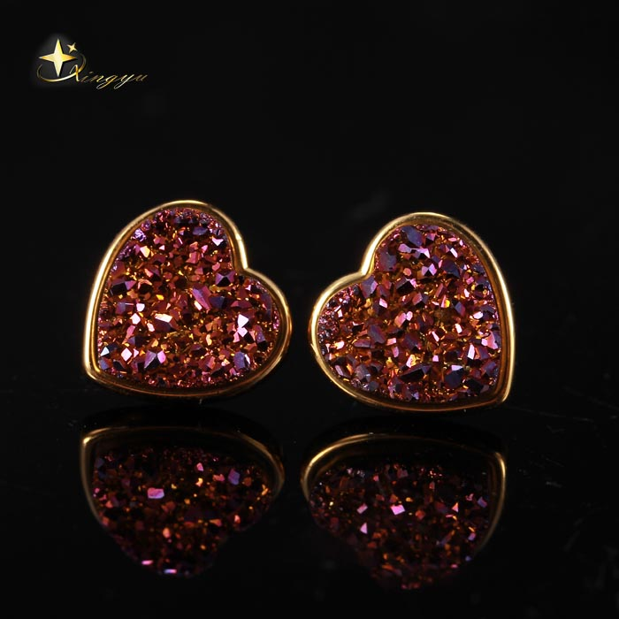 Hot Sale Gold Color/Rhodium Color Pated Heart Silver Natural Drusy Stud Earrings for Women Fashion Jewelry XYE100657P