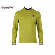Star Trek Beyond Sulu Kirk Cosplay Costume Commander Uniform Cosplay Yellow Long Sleeves Shirt With Free