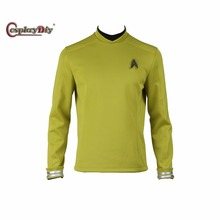 Star Trek Beyond Sulu Kirk Cosplay Costume Commander Uniform Cosplay Yellow Long Sleeves Shirt With Free Badge Custom Made