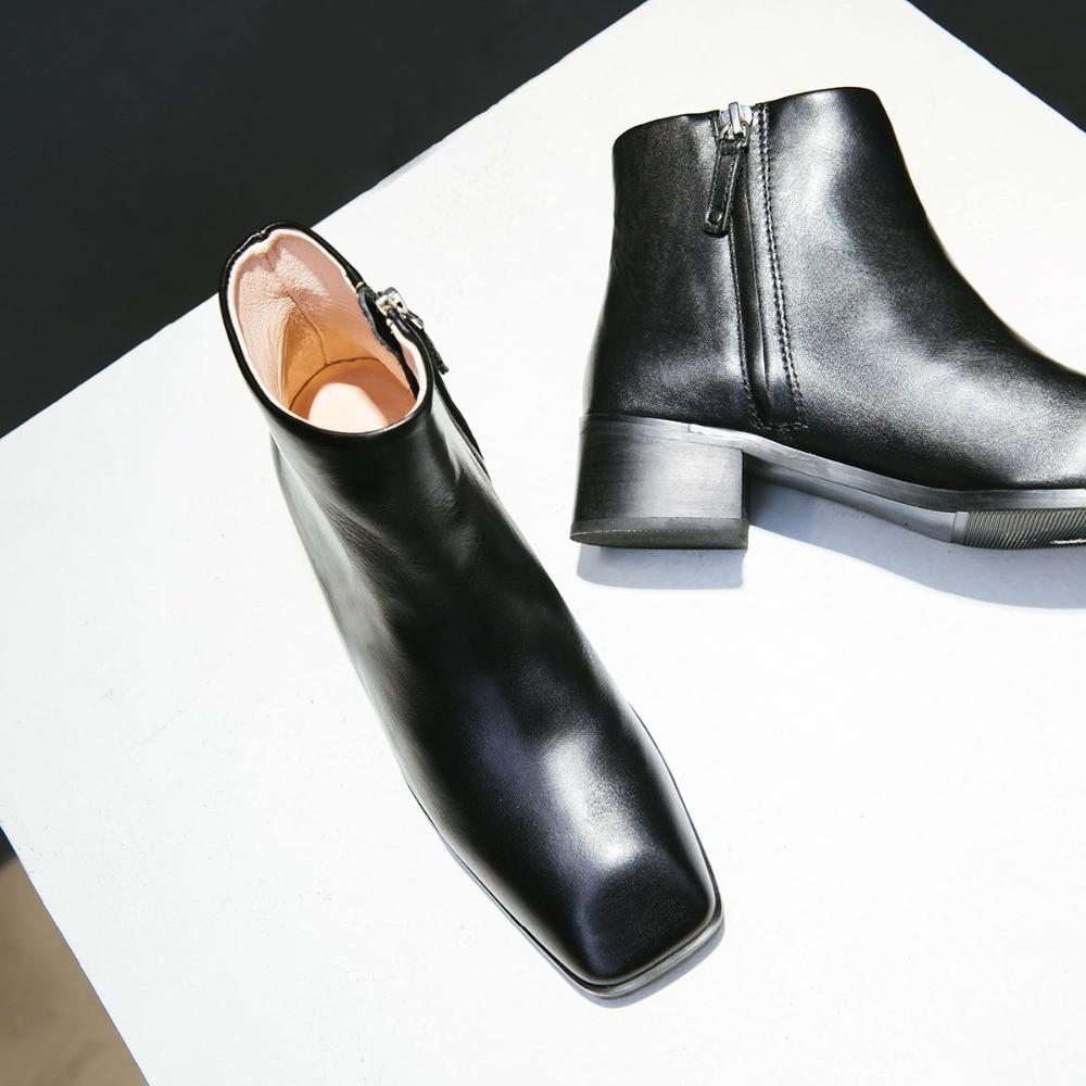 Designer Talons Bottines Automne Bas Bottes Cuir Chaussures Marque Cheville Black En Carré De Pour Loisirs À Véritable Bout Confortable Court Femmes qX7wWS