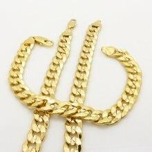 Массивные кубинские цепи набор Желтое золото Заполненные мужские