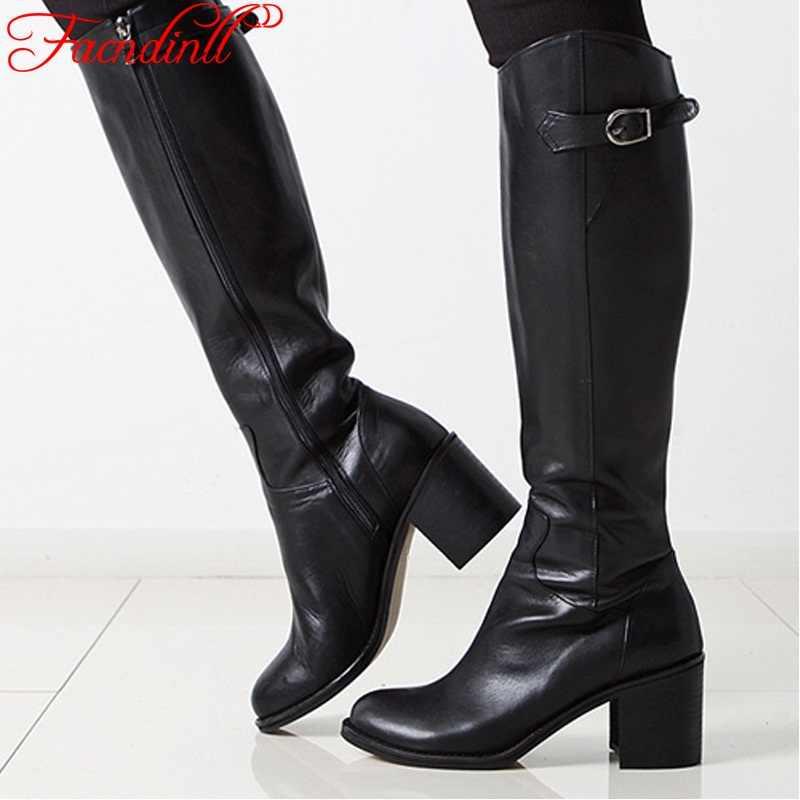 FACNDINLL Женская обувь, модные зимние сапоги до колена с пряжкой, женская  обувь из 33a48586aa5