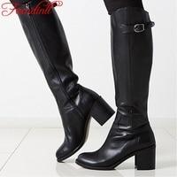 FACNDINLL shoes women fashion buckle winter knee high boots woman genuine leather+pu women black winter shoes thigh high boots
