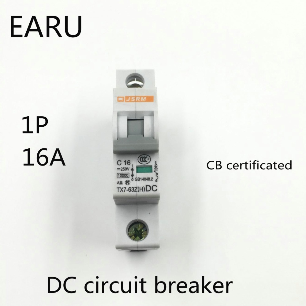 1P 16A DC 250V DC Circuit Breaker MCB for PV Solar Energy Photovoltaic System Battery C curve CB Certificated Din Rail Mounted1P 16A DC 250V DC Circuit Breaker MCB for PV Solar Energy Photovoltaic System Battery C curve CB Certificated Din Rail Mounted