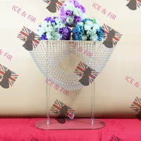 2Piece/Lot Crystal Wedding Centerpiece Cake Stand Acryli Flower Stand Center Decoration Candlestick Wavy Crystal