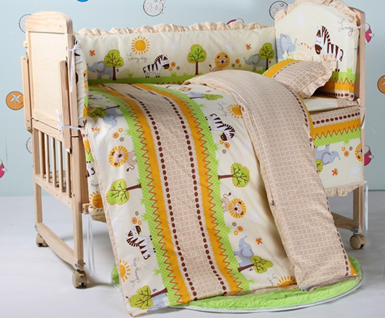 Promotion! 7pcs Child quilt piece set baby bedding crib set 100% cotton (bumper+duvet+matress+pillow)