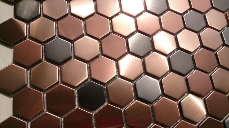 Hexagon Mosaics Tile Copper Rose Gold Color Black Stainless Steel Backsplash Kitchen Tiles Bath Walls Shower Flooring 11sf On Aliexpress Alibaba