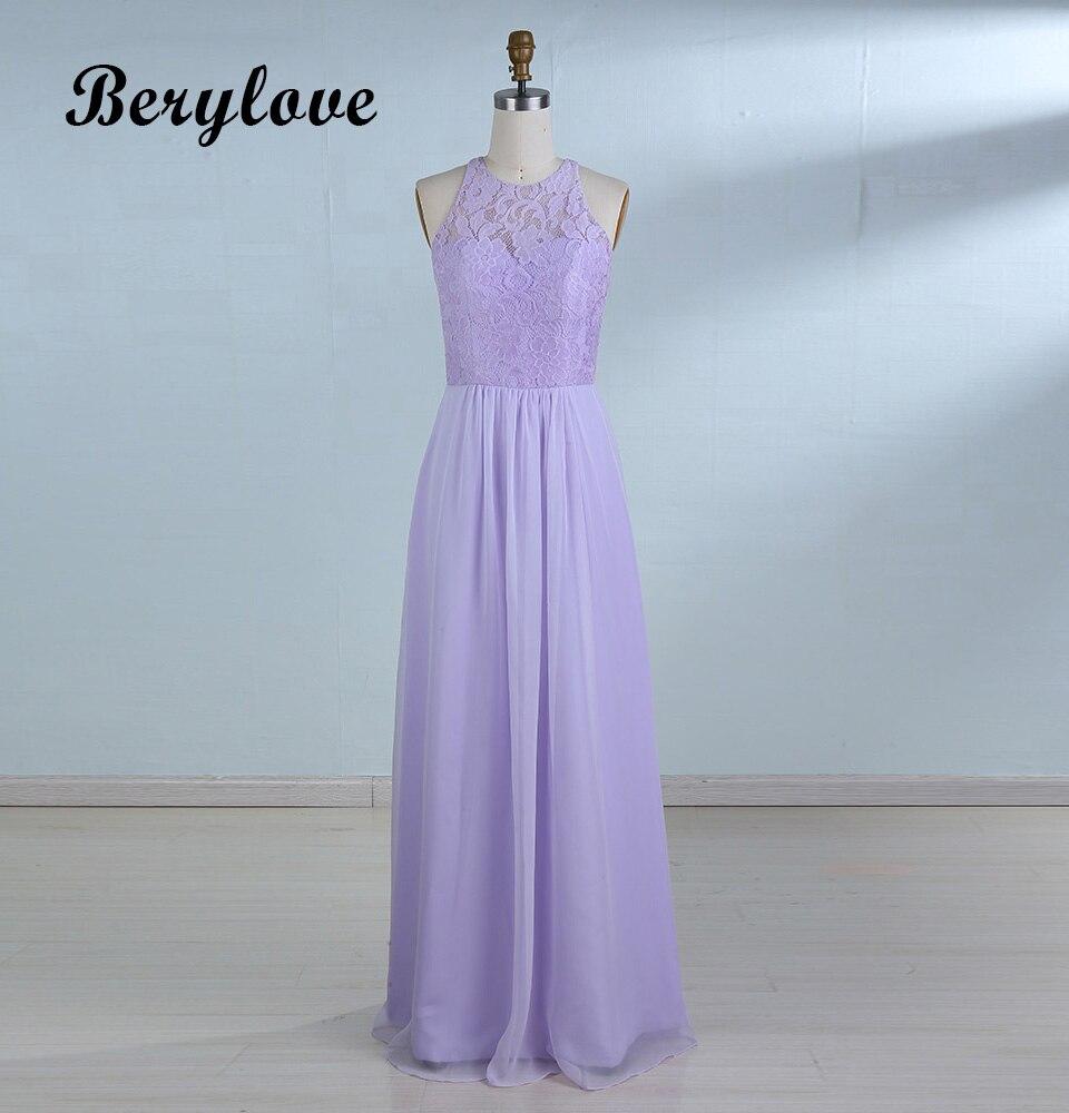 BeryLove Long Lavender Evening Dresses 2018 Simple Lace Prom Dress ...