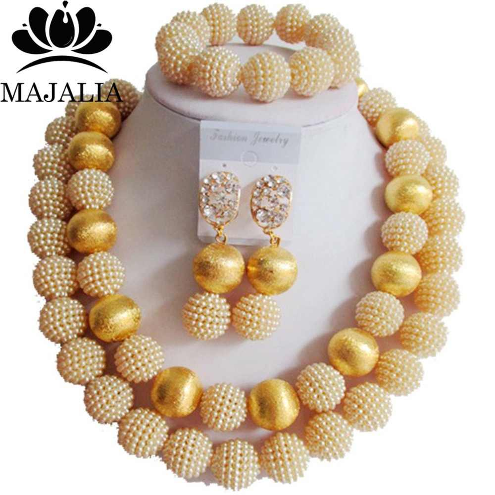 Fashion african wedding beads beige plastic nigerian wedding african beads jewelry set Free shipping Majalia-269
