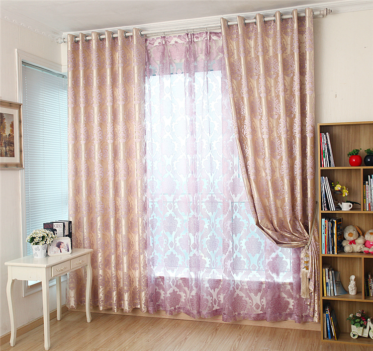 Purple Curtains For Bedroom Living Room European Purple High Grade Jacquard Cloth Bedroom Living Room Curtain