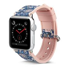 Apple Watch Band 38/40mm 42/44mm, Floral Deer Soft Silicone & leather strap watch for iWatch Apple Watch Bracelet Series 4 3 2 1 цены онлайн