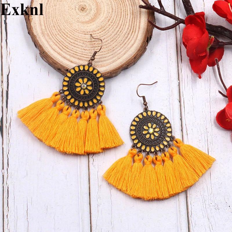 Exknl Fringed Long Drop Tassel Earrings Fashion Vintage Dangle Flower Bohemian Earrings For Women Ethnic Party Earrings Jewelry