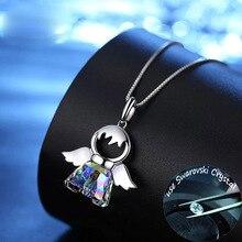 SINLEERY Прекрасный австрийский кристалл Ангел Кулон ожерелье Серебряный цвет цепи ожерелье для женщин подарок подруге Xl034 SSG