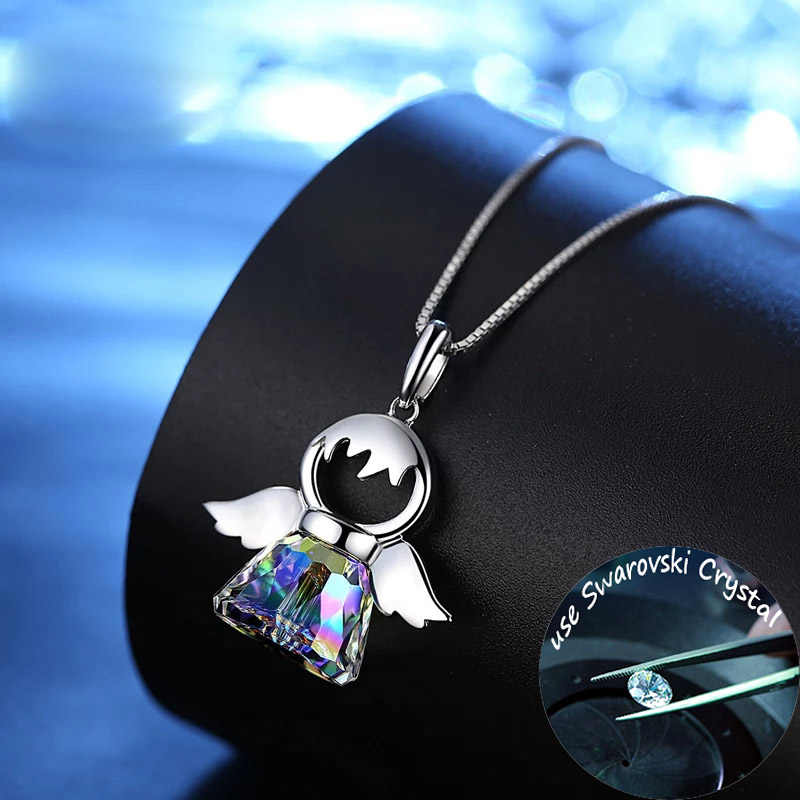 SINLEERY Lovely Austria Crystal Angel Pendant Necklace Silver Color Chain Necklace For Women Girlfriend Gift Xl034 SSG