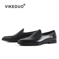 VIKEDUO Casual Men's Black Loafers Shoes Summer Handmade Patina Shoe 2019 Genuine Cow Leather Plaid Footwear Bespoke Zapatos
