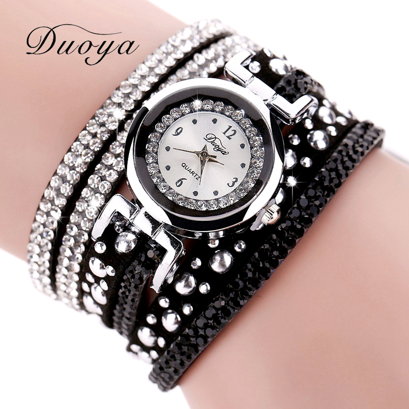 New Duoya Top Brand Fashion Luxury Rhinestone Bracelet Watch Women Quartz Watch Ladies Casual Women Vintage Casual Wristwatch чехол для планшета it baggage для galaxy note 2014 edition 10 1 черный itssgn2101 1 itssgn2101 1