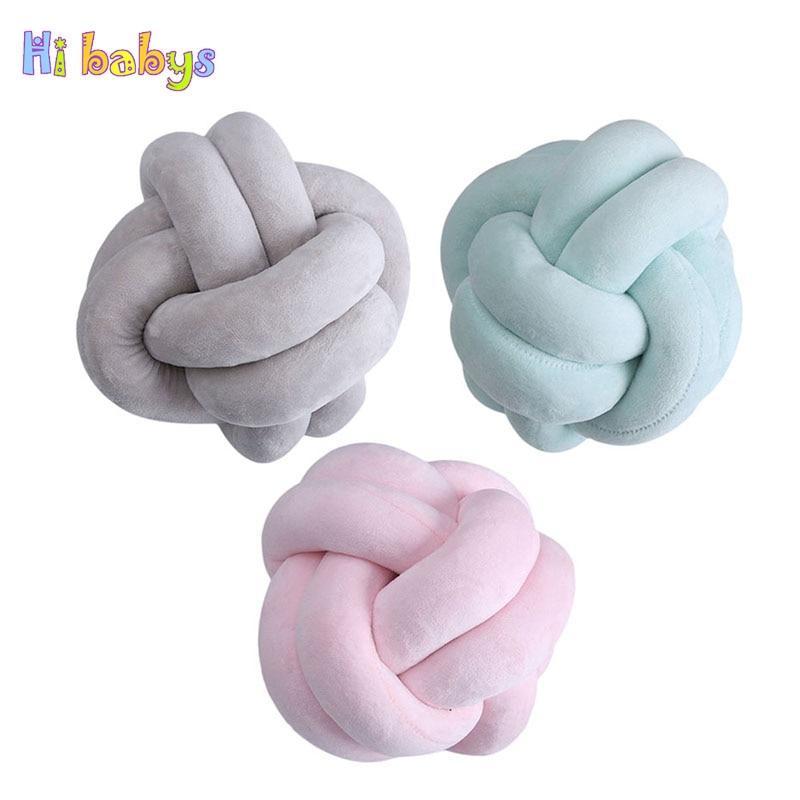 Nordic Style Velvet Knot Ball Pillow Baby Calm Sleep Decorative Pillows Sofa Cushion Throw Pillow Children Gift Home Office
