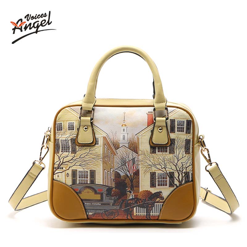 2017 Women Messenger Bags Fashion PU Women  Handbags Oil Picture Pattern Medium